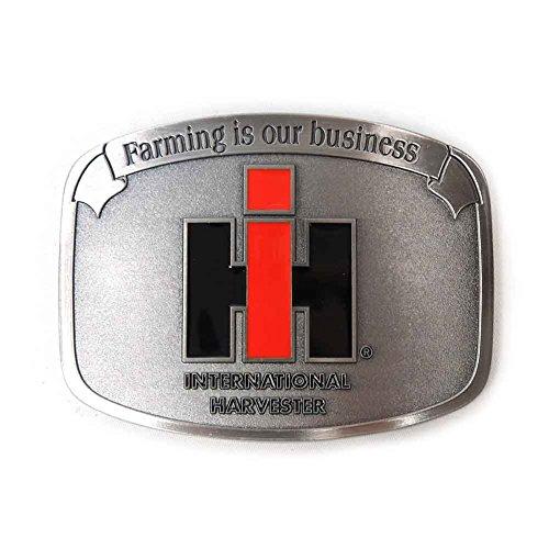 "IH ""Farming is our Business"" Brushed Pewter Enamel Belt Buckle"