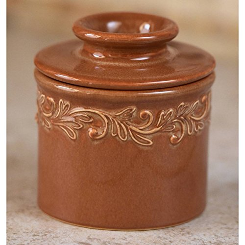 The Original Butter Bell Crock by L. Tremain, Antique Collection - Rust (Leaves Base Ceramic)