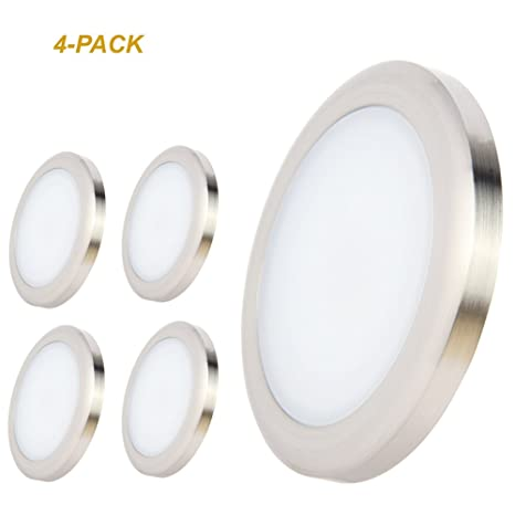 Acegoo RV Boat LED Ceiling Light 4 Pack Surface Mount 12 Volt Puck Lights  Campers,