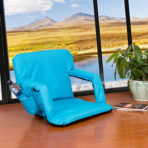 51URidhaYRL - Sundale-Outdoor-Indoor-Adjustable-Floor-Chair-Five-Position-Multiangle-Stadium-Seat-Padded-Recliner-Gaming-Chair-with-Back-Support-Armrest-and-Two-Pockets-Blue