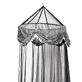 Sequins Bed Canopy Mosquito Net for All Size Bed, Dressing Room, Out Door Events (Black)