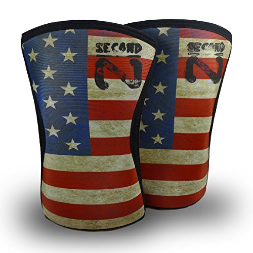 Second Nature Color US Flag Knee Sleeves (1Pair) 7mm Neoprene Support for Weightlifting Powerlifting UniSex (Medium)