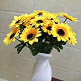 Helen Zora Artificial Sunflower with 7 Flowers for Home Office Party Decor Wedding Scene Setting
