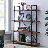Homissue 4-Tier Industrial Style Bookshelf, Wood and Metal Bookcases Furniture for Collection, Retro Brown For Sale