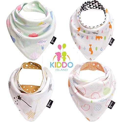 Baby Bandana Drool Bibs by Elleez - 4 Pack for Boys & Girls - Baby Gift Set - 100% Organic Cotton - Beautiful Reversible Bibs(2 Styles in 1 Bib) - Cool & Warm, Functional, Adorably Stylish by CUPID (Image #1)