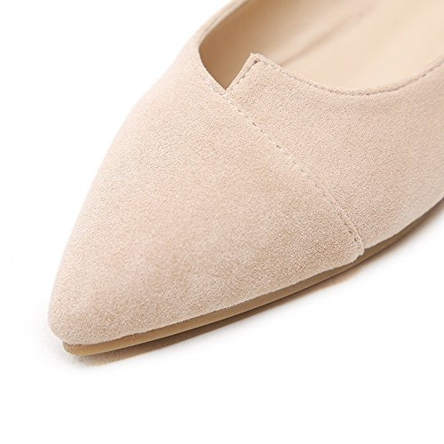 Meeshine Damesschoenen Klassieke Puntige Teen Ballet Platte Comfort Zachte Suède Ballerina Slip Op Platte Schoenen Schoenen Naakt 01