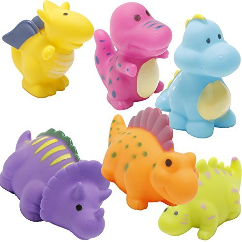 (J-BgPink Bathtub Toys Dinosaur Baby Bath Toys Christmas Kids Fun Squirt Toys Floating Bathroom Toys Assorted Colors 6PCS)