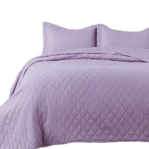 Bedsure 3-Piece Bedding Quilt Set Lavender Full/Queen Size 90x96 Bedspread with 2 Pillow Shams Pattern Soft Microfiber Coverlet Set
