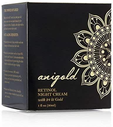 Anigold Facial night cream with Retinol, Matrixyl 3000 and 24k gold for deep wrinkles, fine lines and sun damaged skin. 1oz (30ml).