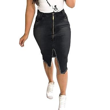 QIJINLOOK - Falda de Mujer de Cintura Alta con Cremallera Vintage ...