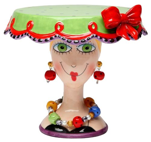Appletree 6-1/2-Inch Sugar High Social by Babs Ceramic Cake Stand -
