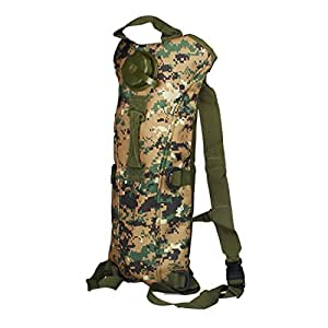 Bessky® Hydration System Water Bag Pouch Backpack Bladder Hiking Climbing Survival 3L (Jungle Digital)