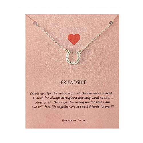 - Your Always Charm Tiny Horseshoe Necklace,Friendship Gifts with Message Card (Silver)