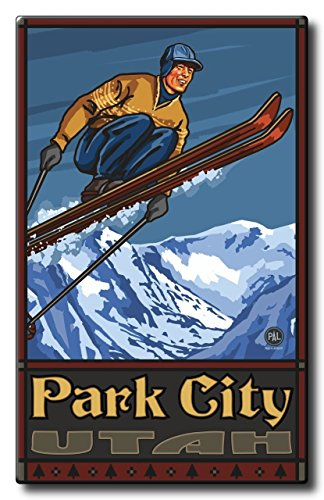 Park City Utah Ski Jumper Aluminum HD Metal Wall Art by Artist Paul A. Lanquist ( 22.5