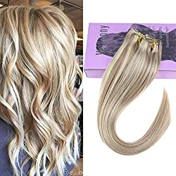 【PRIME】VeSunny Blonde Clip in Human Hair Extensions Color #18 Ash Blonde Mixed #613 Bleach Blonde Clip in Highlight Hair Extensions Human Hair Blonde Clip in Extensions 18inch 7pcs 120G