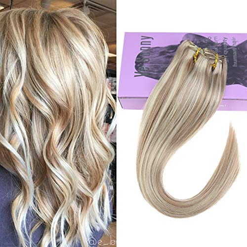 VeSunny Clip in Blonde Human Hair Extensions Color #18 Ash Blonde Mix #613 Bleach Blonde Highlights Remy Hair Extensions Clip in Human Hair Blonde 18