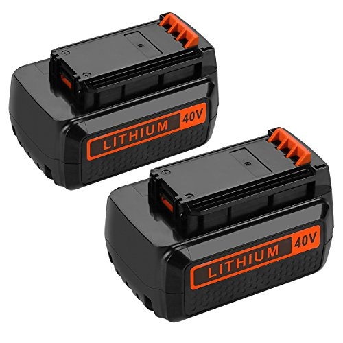 Powilling 2Pack 40 Volt MAX 2.2Ah Lithium Replacement Battery for Black and Decker 40V Battery LBX2040 LBXR36 LBXR2036 LST540 LCS1240 LBX1540 LST136W Black+Decker Lithium Battery by Powilling