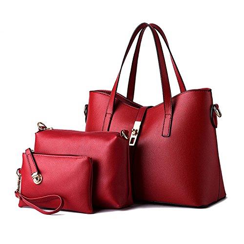 Wallet WineRed New Set PU for Tote Handbag Set 3 Shoulder Women Bag Leather Bag Piece Wqq0rx6a7