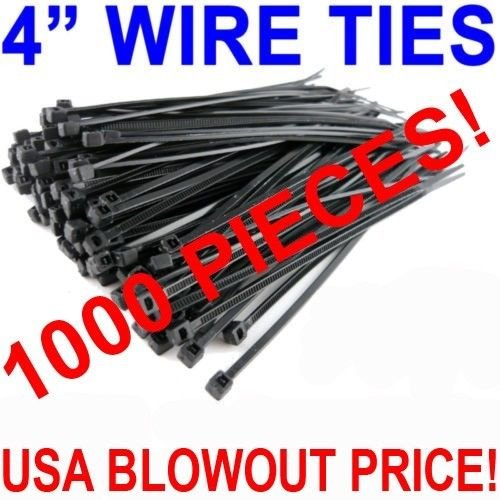 1000 PACK 4 INCH ZIP CABLE TIES NYLON BLACK 18 LBS UV WEATHER RESISTANT WIRE from AudioTek USA