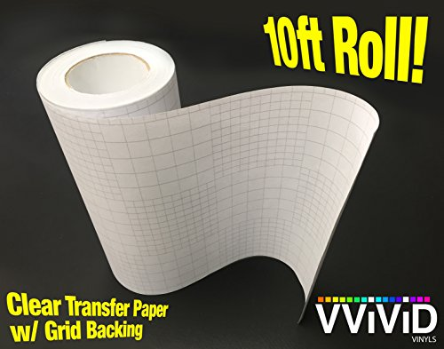 High Gloss Clear Vinyl Transfer Paper Self-Adhesive Roll w/ Grid Backing 12' x 10ft 3mil
