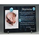 Cadre Photo Aimant pour Marraine – (Cadeau Parrain Marraine Baptême & Communion)