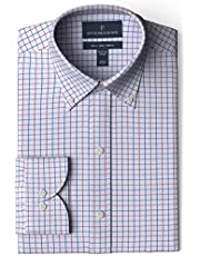 Buttoned Down Men's Slim Fit Button Collar Pattern Non-Iron Dress Shirt