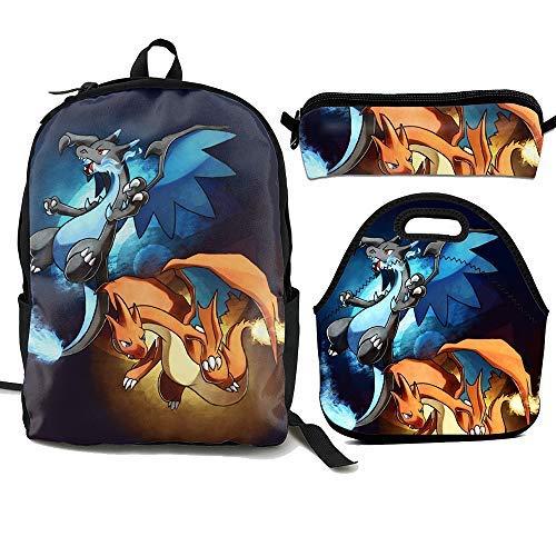 ShowRoom16 Kids Charizard Backpack Insulated Lunch Bag Pen Bag for Boys Girls (Backpack+Lunch Bag+Pen Bag) -