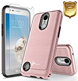 LG Aristo Case (MS210) with FREE [Full Cover Tempered Glass Screen Protector], NageBee Design Premium [Carbon Fiber Brushed] [Heavy Duty] Defender Cover Case For LG K8 2017(M200) / LG LV3 (Rose Gold)