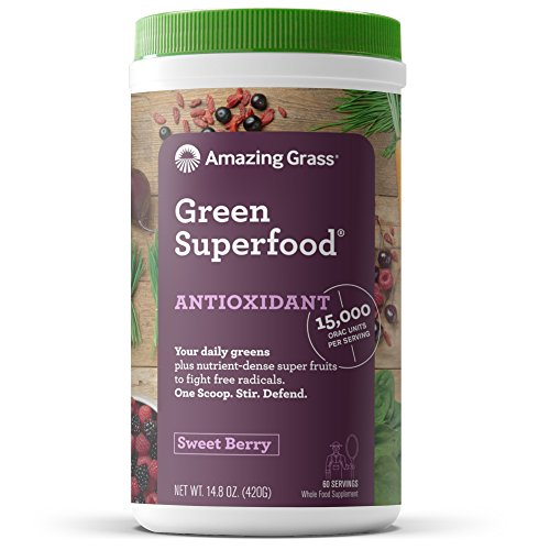 (Amazing Grass Green Superfood Antioxidant: Organic Plant Based Antioxidant and Wheat Grass Powder for full body recovery, 8 servings of Fruits and Veggies per Scoop, Sweet Berry Flavor, 100 Servings)