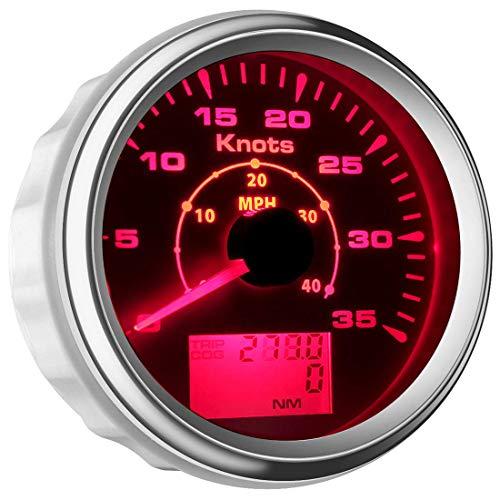 Samdo 85mm 7 Backlight Waterproof GPS Speedometer Gauges 0-35knots GPS Speed Odometers Speed Indicators 0-40MPH for Marine Boat ()