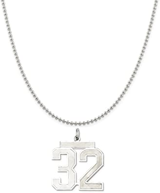 Snake or Ball Chain Necklace Sterling Silver Large Satin Number 12 on a Sterling Silver Cable