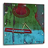 3dRose Green and Aqua Guitar Musical Instruments – Wall Clock, 15 by 15-Inch (dpp_29324_3) For Sale