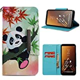Leather Wallet Case for Samsung Galaxy A6 Plus 2018,Shinyzone Cute Cartoon Animal Panda Painted Pattern Flip Stand Case,Wristlet & Metal Magnetic Closure Protective Cover