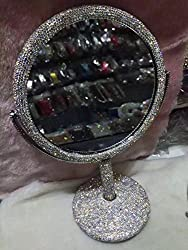 TISHAA Luxury Cute Style Bling Bling Small White Crystal Diamond Studded Double Make Up Magnification Stand Mirror USA - Large Size