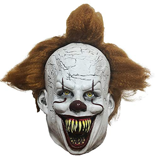 Scary Halloween Costumes For Two People (Adult Clown Mask with Hair and Exposed Teeth for Halloween Costume, Cosplay, Easter, Theme Party)
