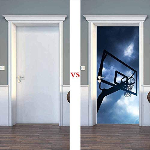ZDDBD Pegatinas De Puerta,3D Papel Pintado Vinilos Puertas para Puesto De Baloncesto,PVC Murales,Autoadhesivo, Impermeable,DIY Decorativos 77 * 200Cm: Amazon.es: Hogar