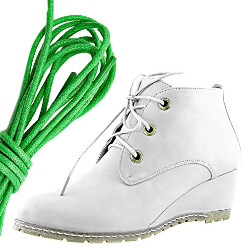 Dailyshoes Femmes Mode Lace Up Bout Rond Cheville Haute Oxford Coin Bottine, Vert Blanc Pu