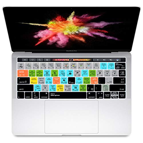 HRH Adobe Lightroom Shortcuts Hotkey Silicone Keyboard Cover Skin for MacBook New Pro with Touch Bar 13 Inch and 15 Inch(A2159/A1989/A1706,A1990/A1707) 2019 2018 2016 2017 Release US Version