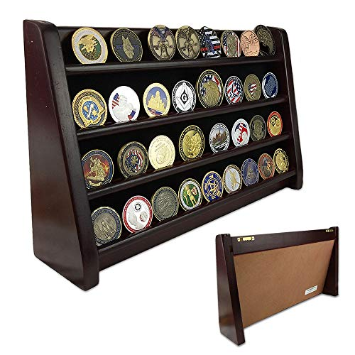 Row Coin Display (Indeep Military Coin Collectible Holder 4 Row Challenge Coin Display Stand Rack Mahogany Finish)