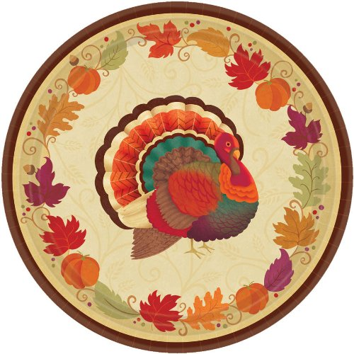 amscan Turkey Holiday Thanksgiving Round Dessert Paper Plates, Multicolor, 7