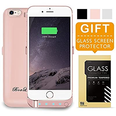 BoxLegend iPhone 6 6s Battery Case 3000mAh Polymer Battery 2.5hrs Fast Recharge Rate Black/White/Rose Gold battery Charger Charging Case Battery Pack Charger Case for iphone 6