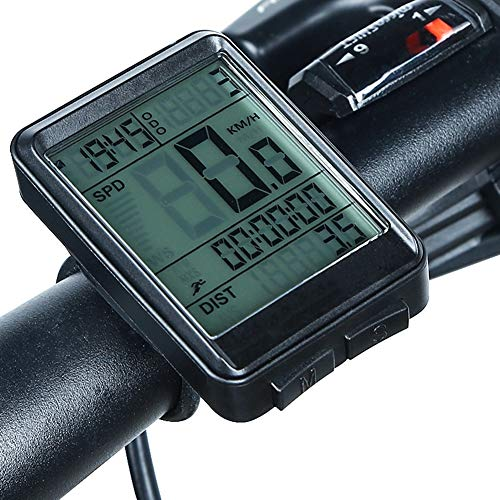 Bicycle Computer with LED Backlight, Speedometer with Stopwatch/Average Speed/Trip Time,for Mountain Bike Spin Bike Indoor/Outdoor Exercise,Wireless