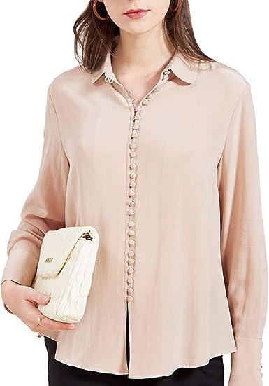 E-girl E6543 - Camiseta de manga larga para mujer (100% seda ...