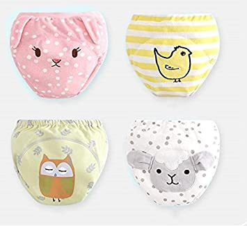 Baby training pants,underware, leakproof urine, pure cotton, washable, children's pants, diaper, bread pants and embroidery modeling pants (D-5pcs, 80#) children's pants 4G-Kitty