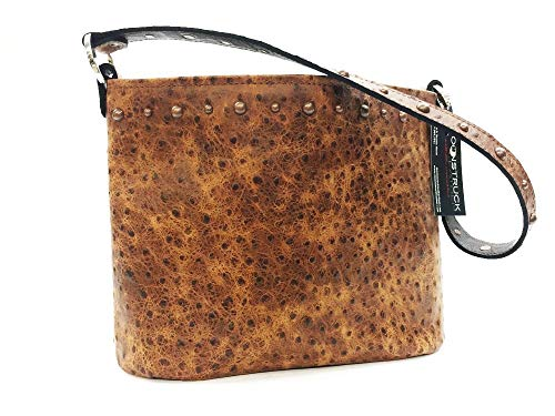 (MoonStruck Leather Concealed Carry Purse - CCW Handbags - Cognac Rustic Ostrich Classic - Made in the USA - Classic)