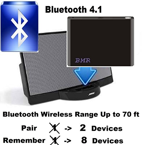 BMR A2DP Bluetooth 4.1 Music Receiver Adapter for Bose SoundDock, iPhone, Samsung, Nokia, HTC, LG, Echo Alexa - Battery Technology Ipod Speaker