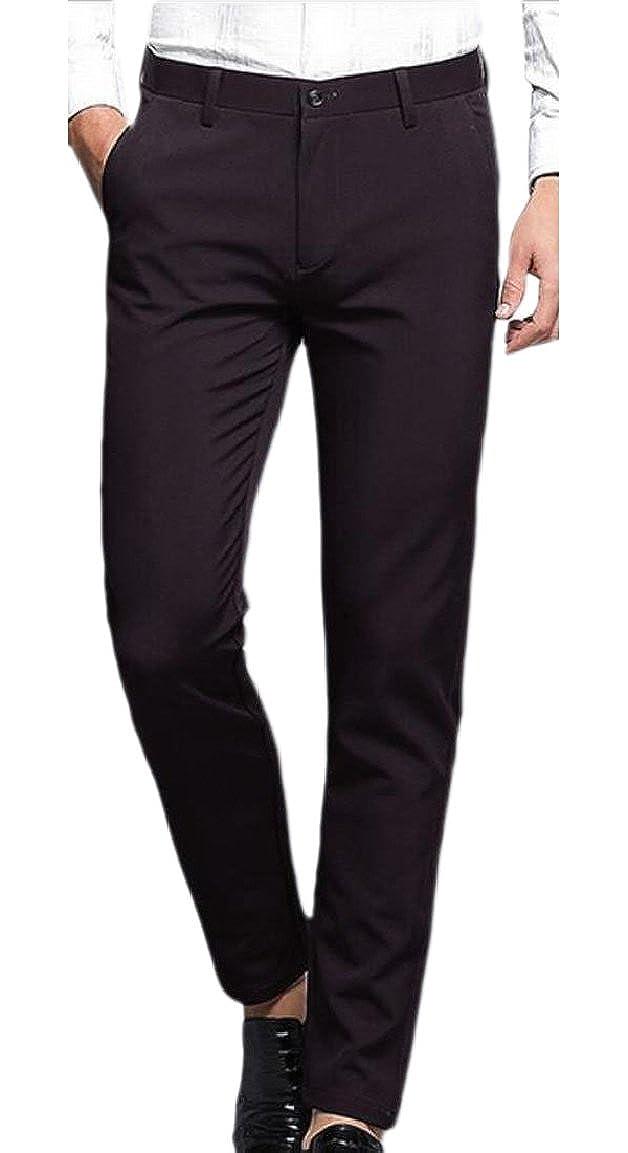 pujingge Mens Regular Fit Straight Leg Flat Front Dress Pant Trousers