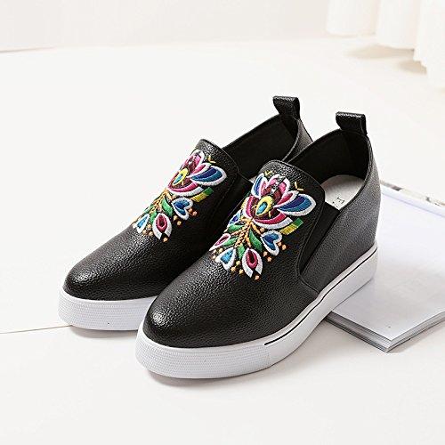 una de Zapato Treinta Cuña y esponja nueve nueve GTVERNH bordadoBlackTreinta y con Zapatos de dama n0Uqx7dw5