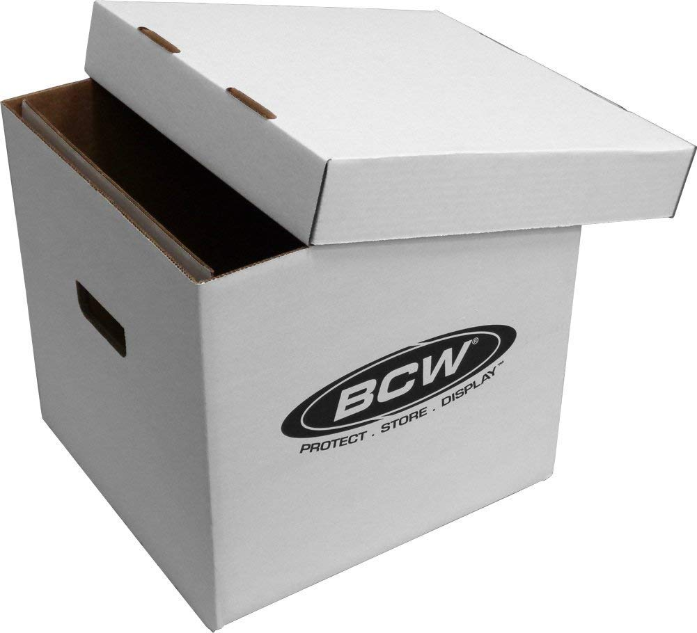 BCW 33 RPM 12'' Vinyl Storage Box with Lid   Holds up to 65 LP's or Laser Discs   White (10-Boxes) by BCW