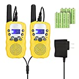 Feeto T-388 Kids Walkie Talkies 22 Channel FRS/GMRS 2 Way Radios with Charger and Rechargeable Batteries (Yellow, Pack of 2)